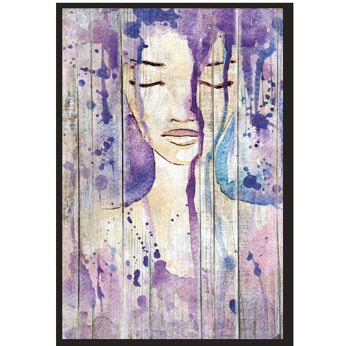 Tableau deco aquarelle portrait de femme violet