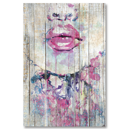 tableau bois palette demi visage de femme. Black Bedroom Furniture Sets. Home Design Ideas