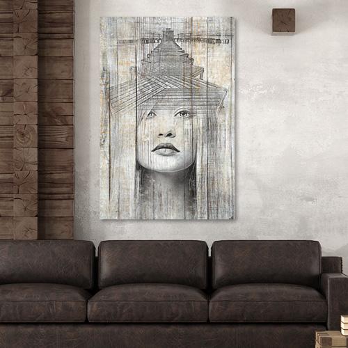 tableau silhouette femme noir blanc finest peinture portrait femme la fleur peinture x cm par. Black Bedroom Furniture Sets. Home Design Ideas
