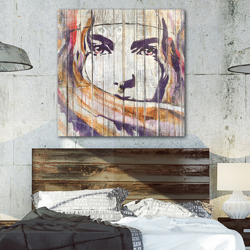 tableau bois palette street art regard de femme. Black Bedroom Furniture Sets. Home Design Ideas