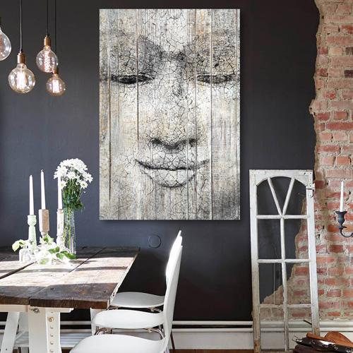 tableau bois palette bouddha. Black Bedroom Furniture Sets. Home Design Ideas