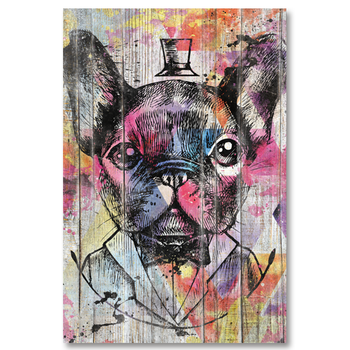 tableau bois pop art bulldog francais. Black Bedroom Furniture Sets. Home Design Ideas