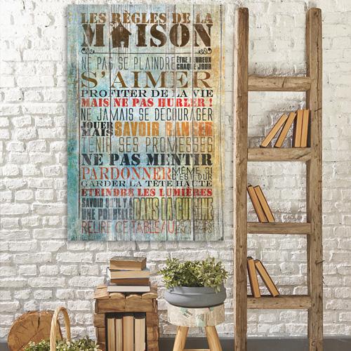 Tableau bois citation les r gles de la maison - Cadre regle de la maison ...