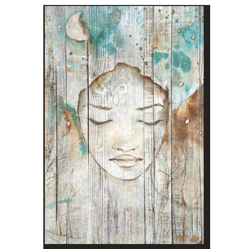 tableau bois palette r ve de femme esquisse peinture bleu turquoise. Black Bedroom Furniture Sets. Home Design Ideas