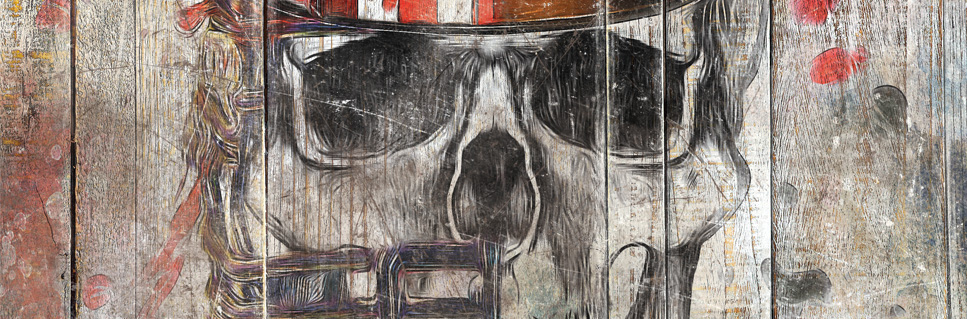 tableau bois palette tete de mort pop art. Black Bedroom Furniture Sets. Home Design Ideas
