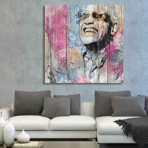 tableau bois palette ray charles. Black Bedroom Furniture Sets. Home Design Ideas
