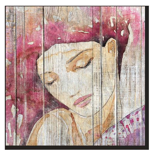tableau bois palette portrait femme fushia. Black Bedroom Furniture Sets. Home Design Ideas