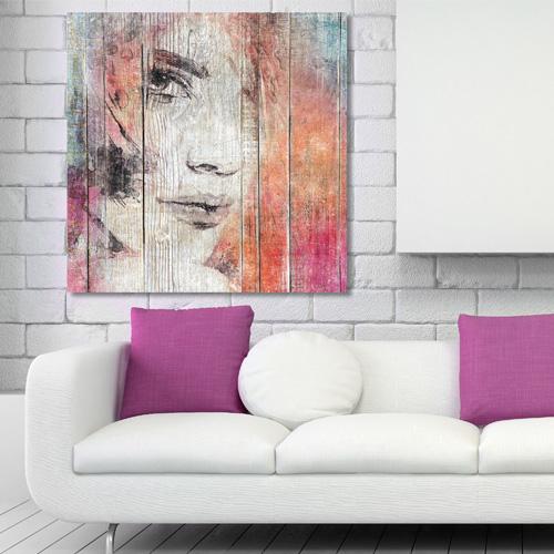 tableau bois palette regard de femme. Black Bedroom Furniture Sets. Home Design Ideas