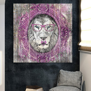 pink lion pop art