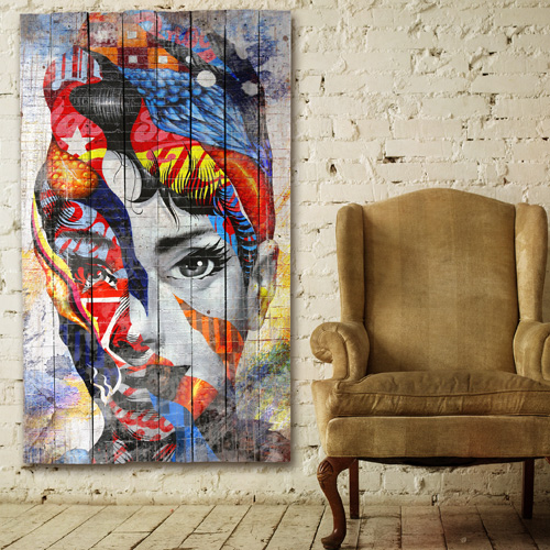 tableau bois palette portrait abstrait street art. Black Bedroom Furniture Sets. Home Design Ideas