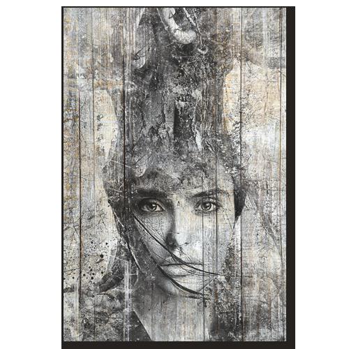 Tableau bois palette femme arbre noir et blanc - Tableau noir bois ...