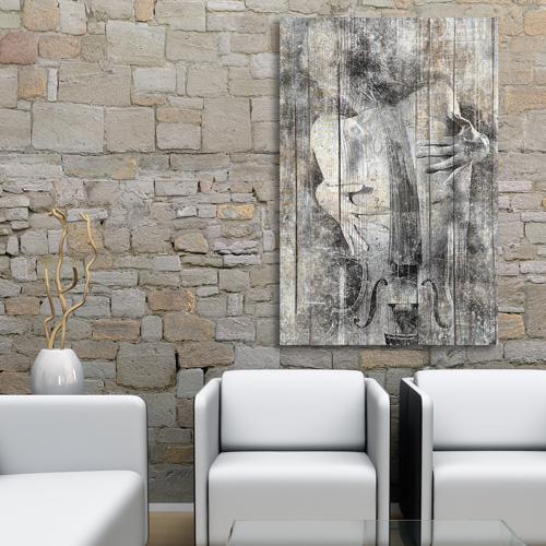 tableau bois palette femme violoncelle noir et blanc. Black Bedroom Furniture Sets. Home Design Ideas