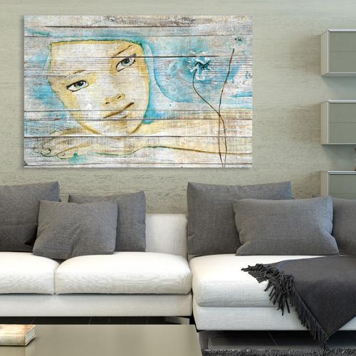 tableau bois palette r ve de femme esquisse peinture. Black Bedroom Furniture Sets. Home Design Ideas
